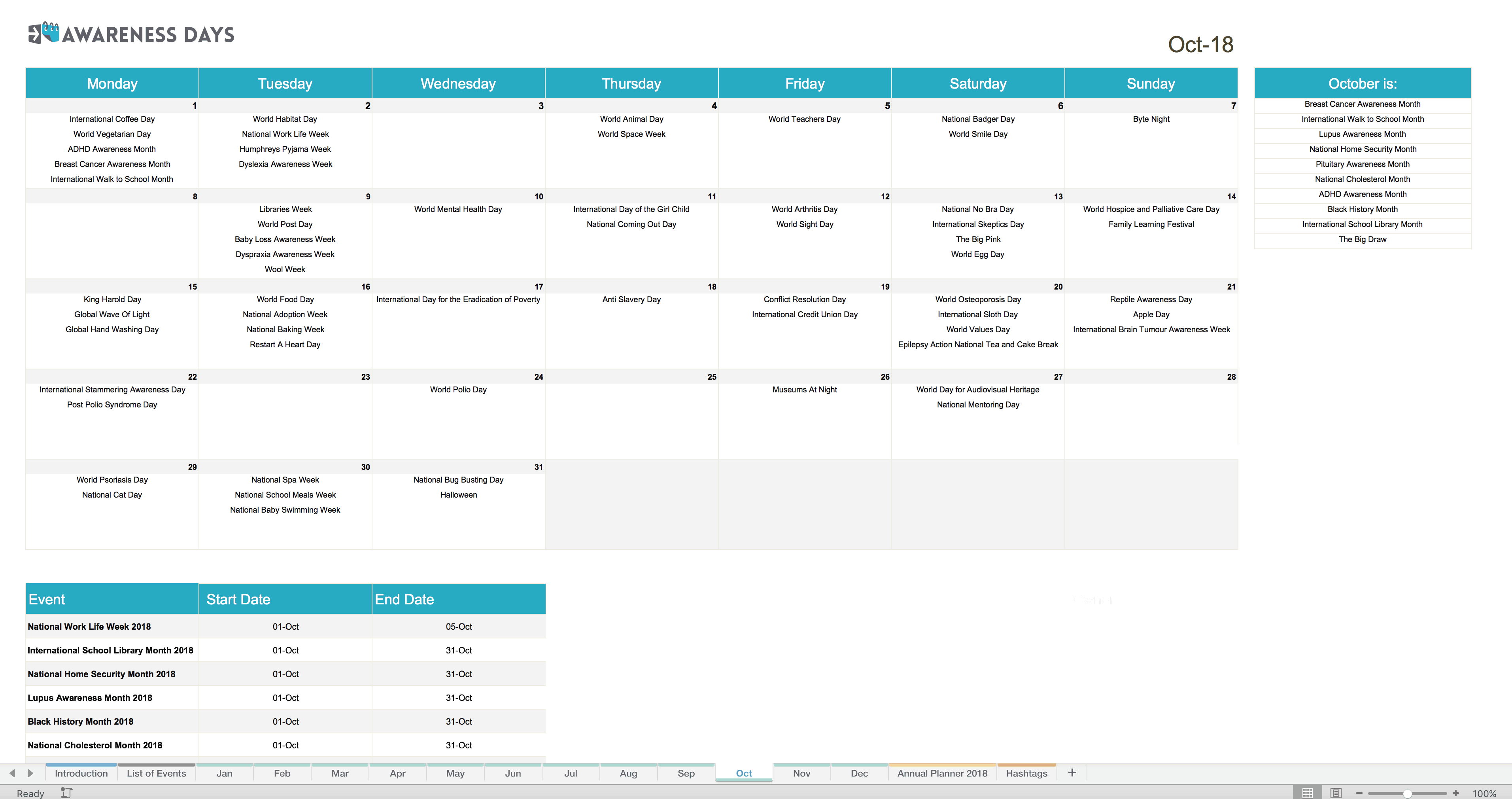 Social Media Content Marketing Templates Planning Tools - Monthly content calendar template