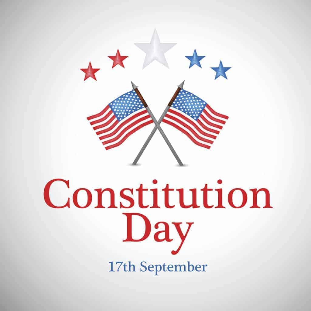 A graphic showing the flag of the United States and that Constitution Day is September 17.